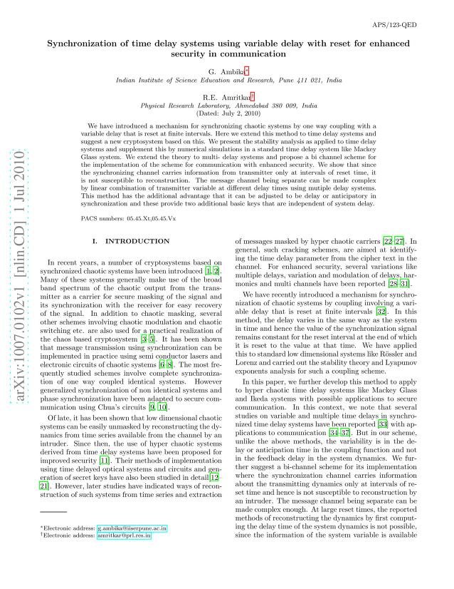 G. Ambika - Synchronization of time delay systems using variable delay with reset for enhanced security in communication