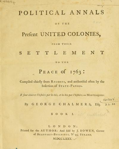 Download Political annals of the present United Colonies