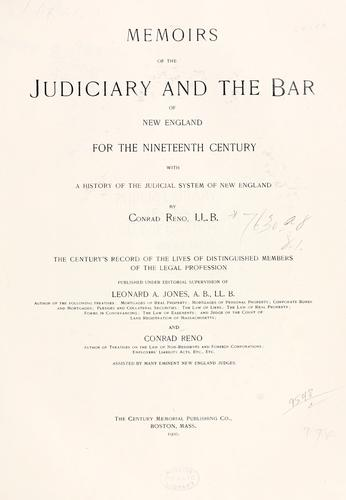 Memoirs of the judiciary and the bar of New England for the nineteenth century
