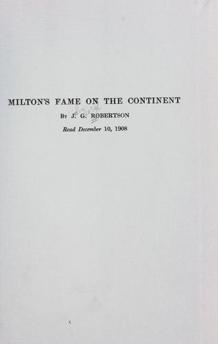 Download Milton's fame on the continent.