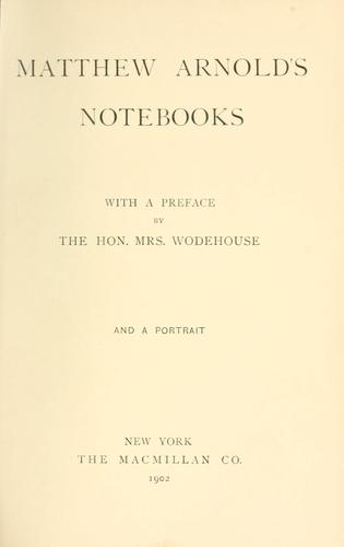Download Matthew Arnold's notebooks