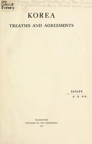 Download Korea; treaties and agreements.