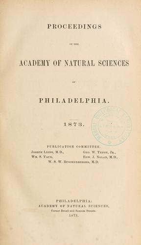 Download Proceedings of the Academy of Natural Sciences of Philadelphia, Volume 25