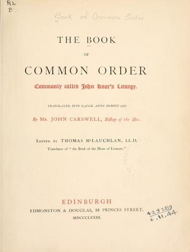 Download The Book of Common Order