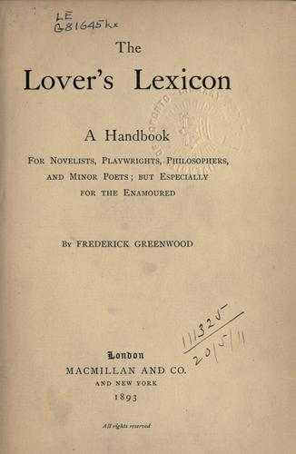 The lover's lexicon.