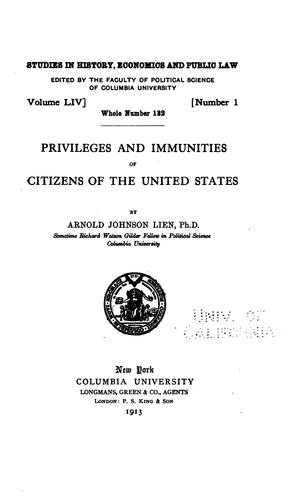 Download Privileges and immunities of citizens of the United States