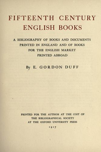 Fifteenth century English books