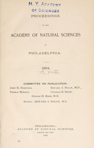 Proceedings of the Academy of Natural Sciences of Philadelphia, Volume 46