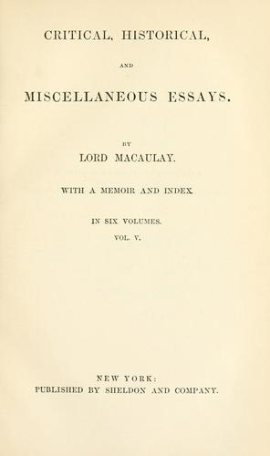 Download Critical, historical and miscellaneous essays.