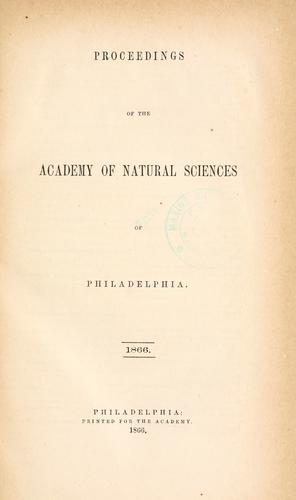 Download Proceedings of the Academy of Natural Sciences of Philadelphia, Volume 18