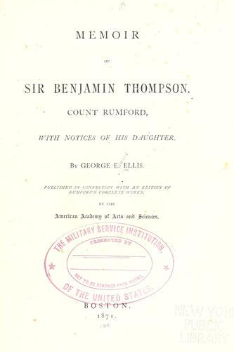Memoir of Sir Benjamin Thompson, Count Rumford
