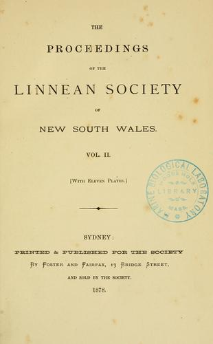 Proceedings of the Linnean Society of New South Wales.