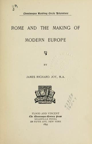 Download Rome and the making of modern Europe.