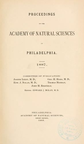 Download Proceedings of the Academy of Natural Sciences of Philadelphia, Volume 39