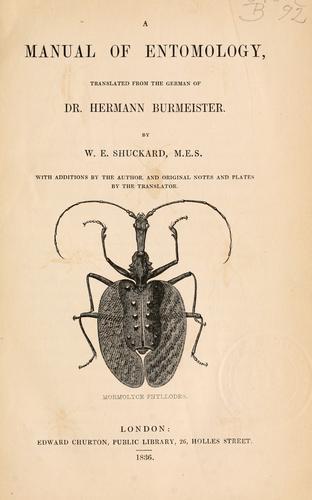 A Manual of entomology
