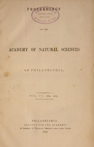 Download Proceedings of the Academy of Natural Sciences of Philadelphia, Volume 7