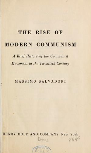 The rise of modern communism