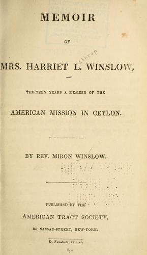 Memoir of Mrs. Harriet L. Winslow