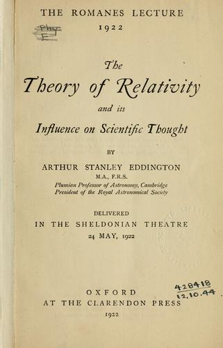 Download The theory of relativity and its influence on scientific thought.