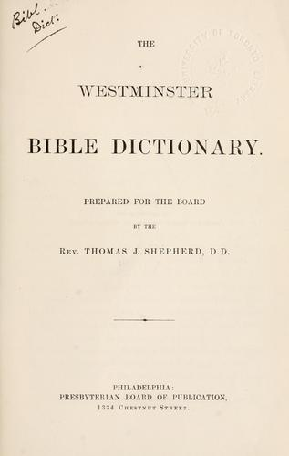 Westminster Bible dictionary.