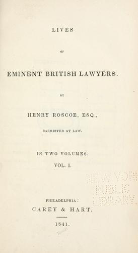 Lives of eminent British lawyers.