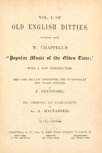 Old English ditties by W. Chappell