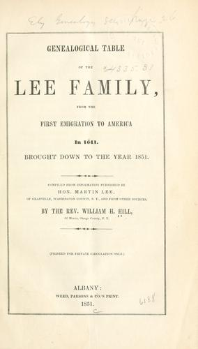 Genealogical table of the Lee family by Hill, William Henry