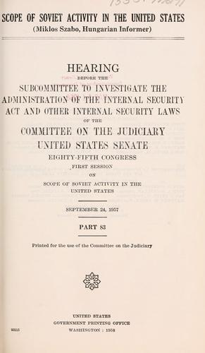 Scope of Soviet activity in the United States.