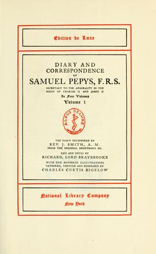 Diary and correspondence by Samuel Pepys