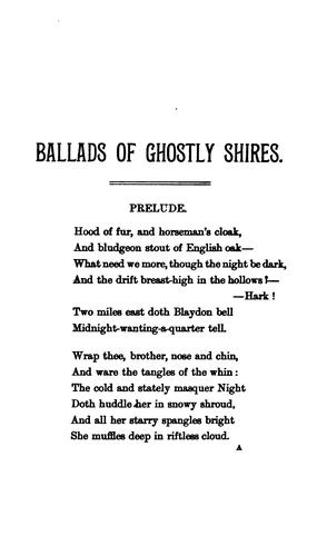 Ballads of ghostly shires by Bartram, George.