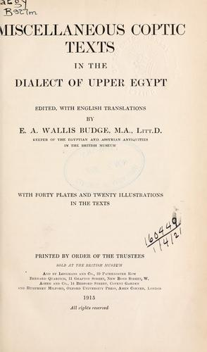 Miscellaneous Coptic texts in the dialect of Upper Egypt
