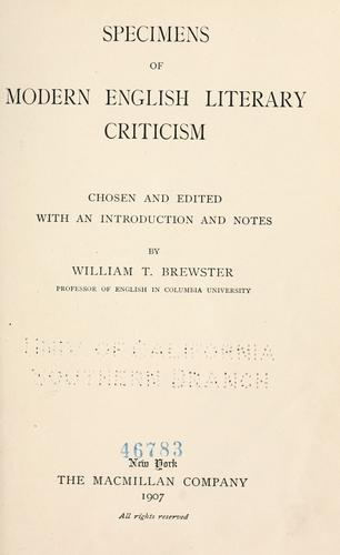 Specimens of modern English literary criticism by William T. Brewster