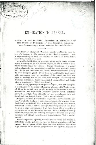 Emigration to Liberia by American Colonization Society.