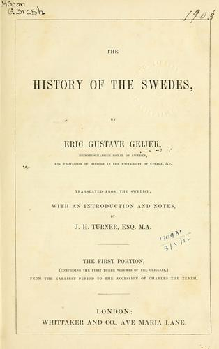 The History of the Swedes by Erik Gustaf Geijer