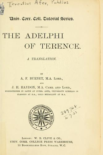 The Adelphi of Terence by Publius Terentius Afer